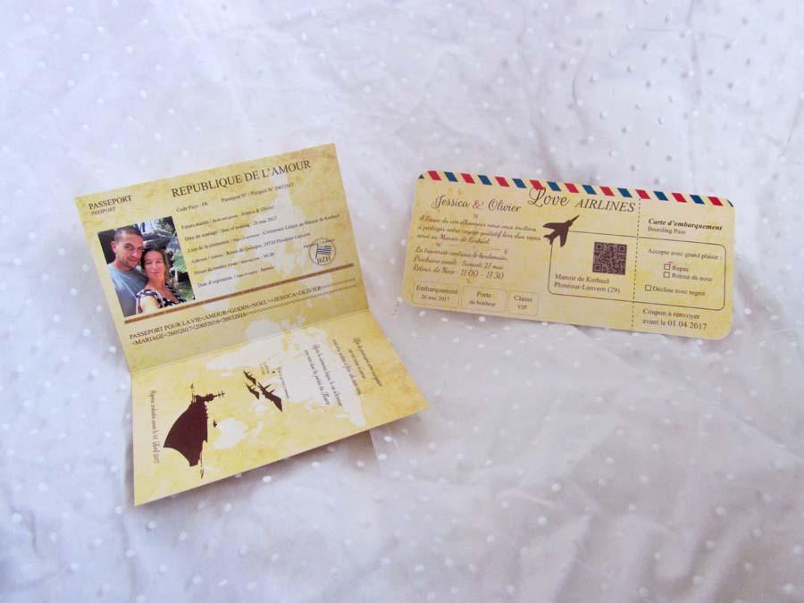 faire part vintage passeport carte embarquement coeur air mail brest 2 mariage brest salle. Black Bedroom Furniture Sets. Home Design Ideas