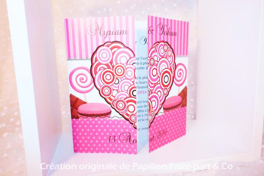 Faire part coeur rose bonbons gourmandise Brest Finistère