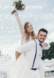 Robe et costume de marié